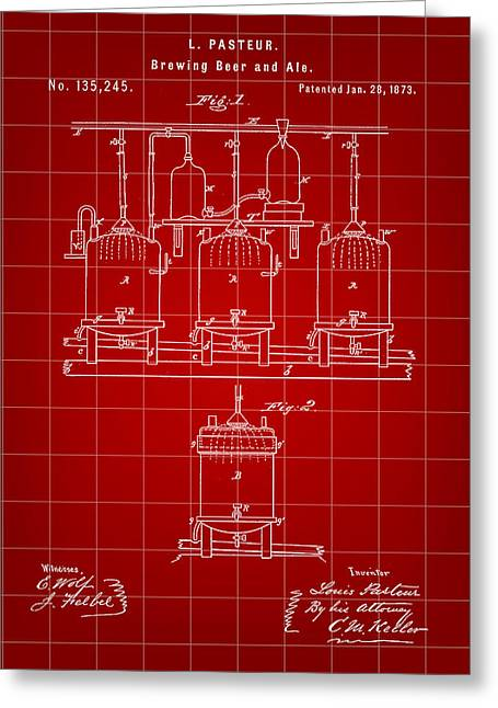 Louis Pasteur Beer Brewing Patent 1873 - Red Greeting Card by Stephen Younts