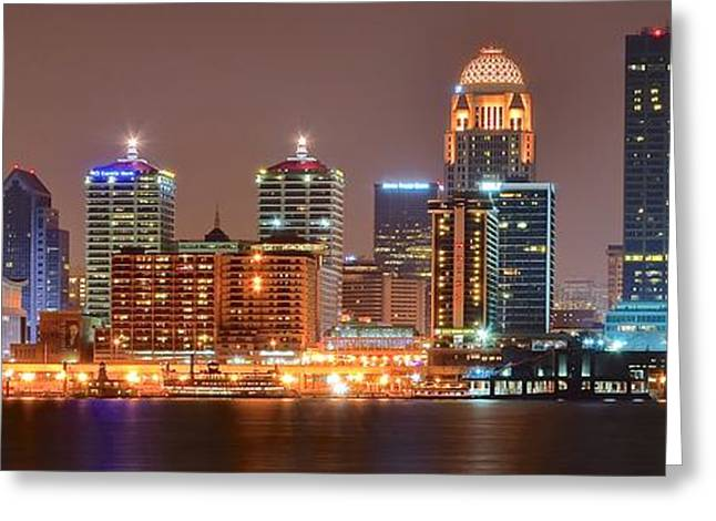 Inner World Greeting Cards - Louisville Panoramic View Greeting Card by Frozen in Time Fine Art Photography