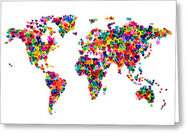 World Map Greeting Cards - Love Hearts Map of the World Map Greeting Card by Michael Tompsett