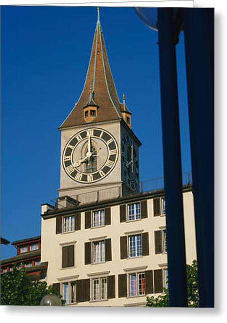 Zurich Greeting Cards - Low Angle View Of A Clock Tower Greeting Card by Panoramic Images