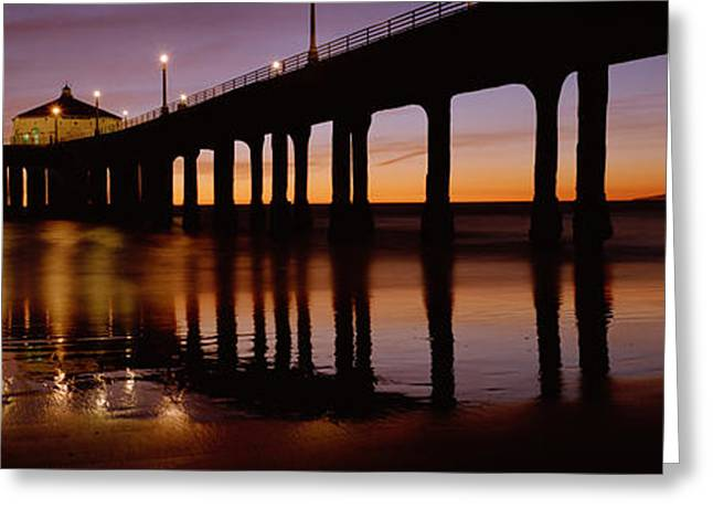 California Beach Greeting Cards - Low Angle View Of A Pier, Manhattan Greeting Card by Panoramic Images
