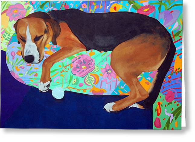 Lucky Dogs Paintings Greeting Cards - Lucky Greeting Card by Jay McClellan