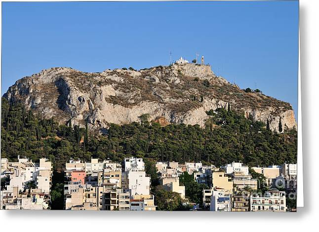 Journey Greeting Cards - Lycabettus hill during sunset Greeting Card by George Atsametakis