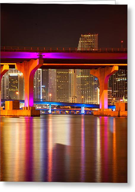 Usa Photographs Greeting Cards - MacArthur Causeway Bridge at night Greeting Card by Celso Diniz