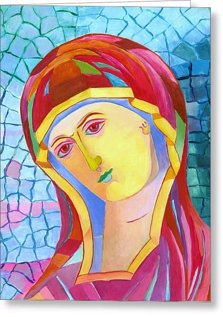 Icon Byzantine Mixed Media Greeting Cards - Madonna icon catholic art Greeting Card by Magdalena Walulik