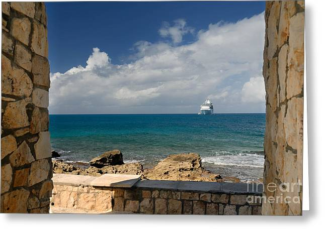 Little Stirrup Cay Greeting Cards - Majesty of the Seas at Coco Cay Greeting Card by Amy Cicconi