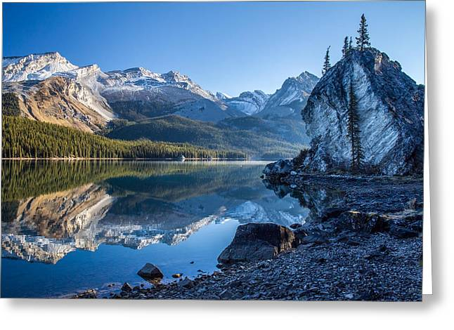 Alberta Water Falls Greeting Cards - Maligne Lake Jasper National park alberta canada Greeting Card by Pierre Leclerc Photography