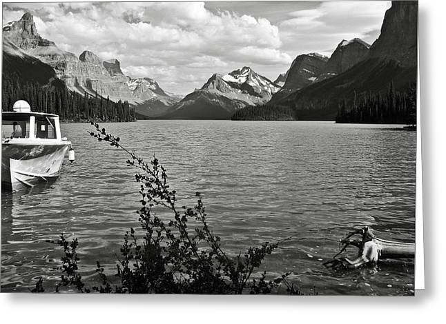 Black Lodge Greeting Cards - Maligne Lake Greeting Card by RicardMN Photography