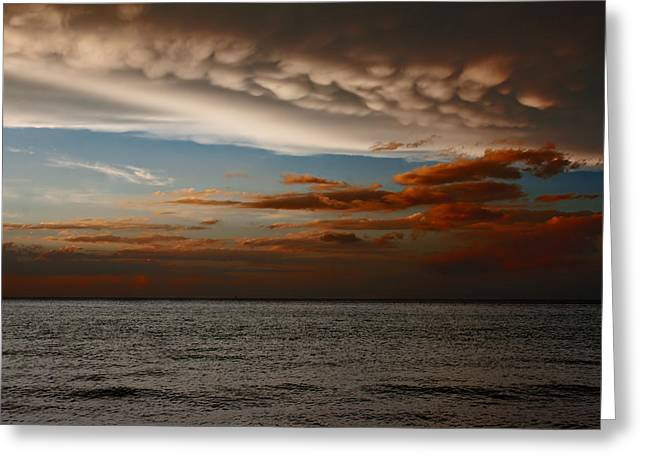 Mammatus Clouds At Sunset Ahead Of Violent Thunderstorm Greeting Card by Ken Biggs