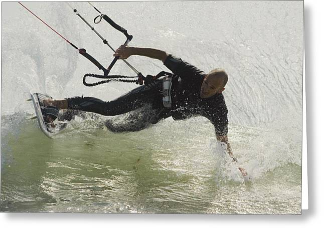35-39 Years Greeting Cards - Man Kitesurfing Greeting Card by Ben Welsh