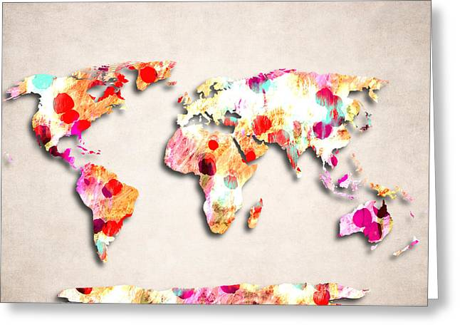 Planet Map Greeting Cards - Map Of The World - Abstract Design Greeting Card by World Art Prints And Designs