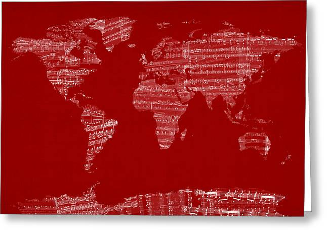 World Map Print Greeting Cards - Map of the World Map from Old Sheet Music Greeting Card by Michael Tompsett