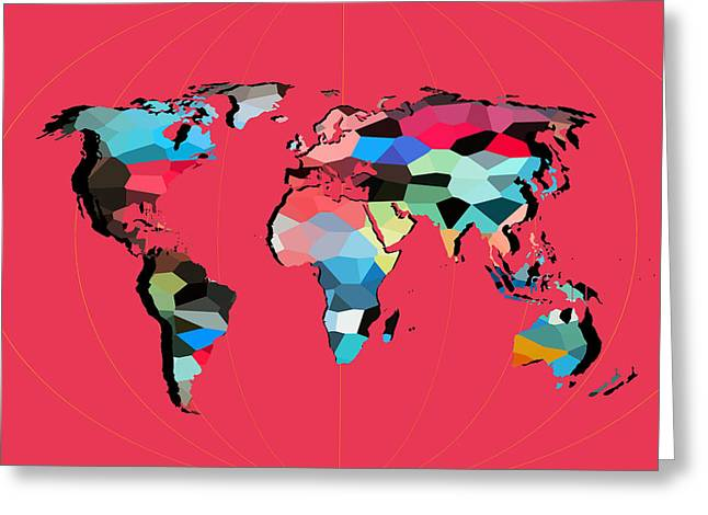 Dinosaur Map Digital Art Greeting Cards - Map Of The World  Greeting Card by Mark Ashkenazi