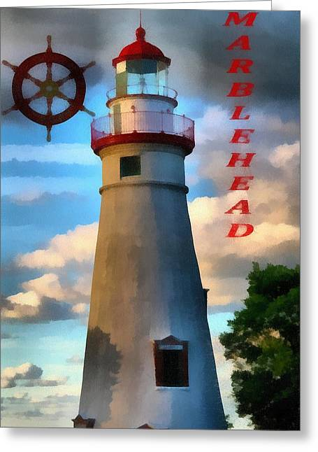 Museum Mixed Media Greeting Cards - Marblehead Lighthouse Greeting Card by Dan Sproul
