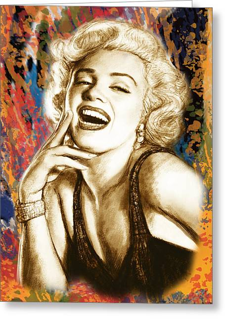 Featured Mixed Media Greeting Cards - Marilyn Monroe morden art drawing poster Greeting Card by Kim Wang