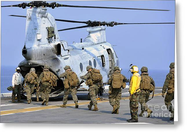 Getting Air Greeting Cards - Marines Board A Ch-46e Sea Knight Greeting Card by Stocktrek Images