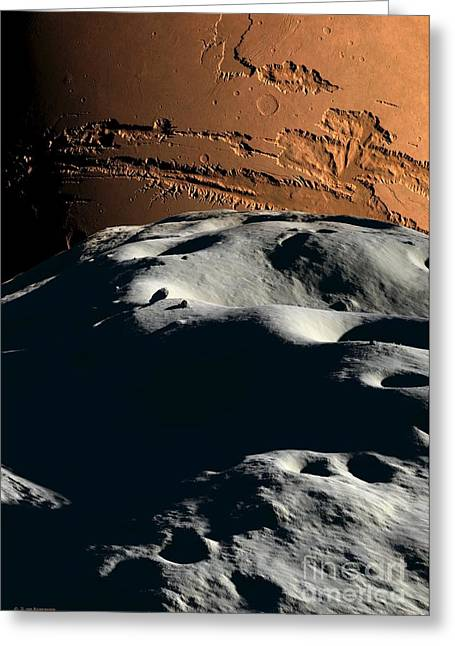 Phobos Greeting Cards - Mars As Seen From Phobos, Artwork Greeting Card by Detlev van Ravenswaay