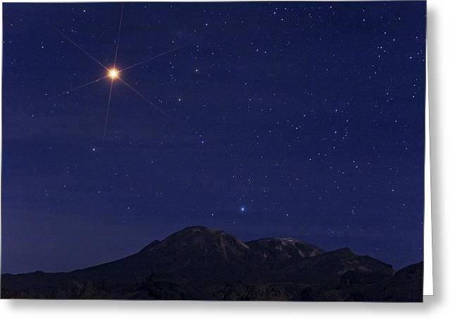 Mars Over Taftan Volcano, Iran Greeting Card by Babak Tafreshi