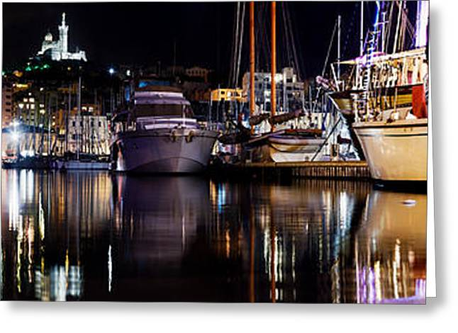Marseille France Panorama At Night Greeting Card by Michal Bednarek