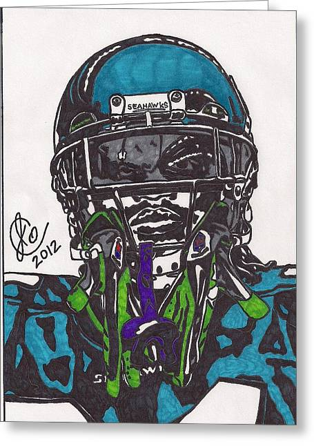 Player Drawings Greeting Cards - Marshawn Lynch Greeting Card by Jeremiah Colley