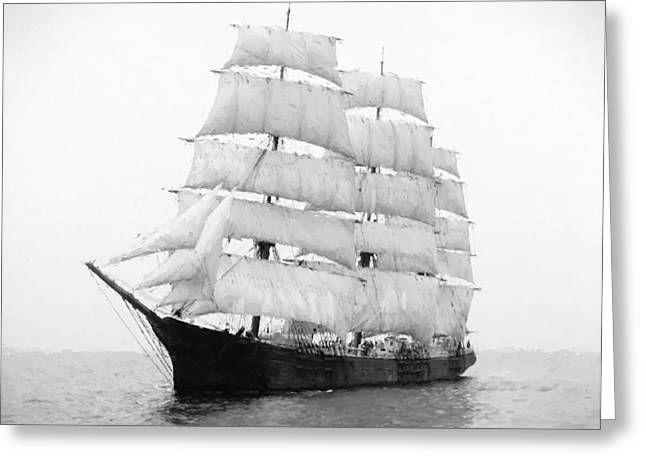 Historic Schooner Digital Greeting Cards - 3 Masted Ship Mary L. Cushing Greeting Card by Daniel Hagerman