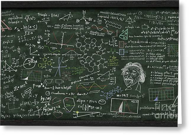 Learn Greeting Cards - Maths Formula On Chalkboard Greeting Card by Setsiri Silapasuwanchai