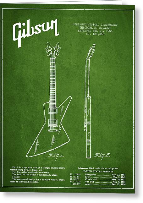 Gibson Greeting Cards - McCarty Gibson electrical guitar patent Drawing from 1958 - Green Greeting Card by Aged Pixel