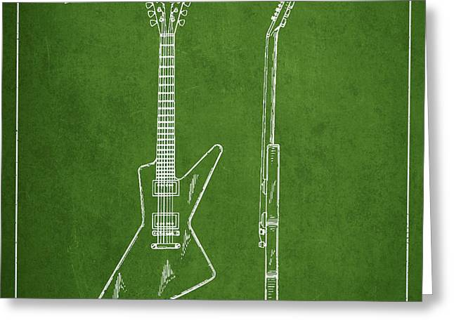 McCarty Gibson electrical guitar patent Drawing from 1958 - Green Greeting Card by Aged Pixel