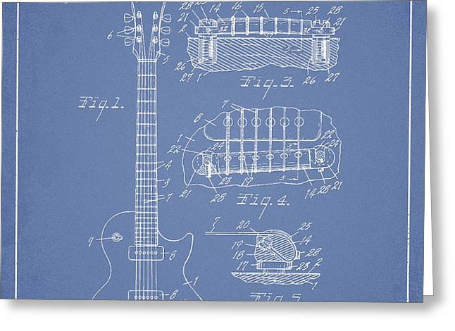 Mccarty Gibson Les Paul guitar patent Drawing from 1955 - Light Blue Greeting Card by Aged Pixel