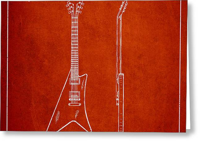McCarty Gibson stringed instrument patent Drawing from 1958 - Red Greeting Card by Aged Pixel