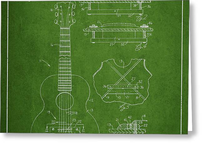 Mccarty Gibson stringed instrument patent Drawing from 1969 - Green Greeting Card by Aged Pixel