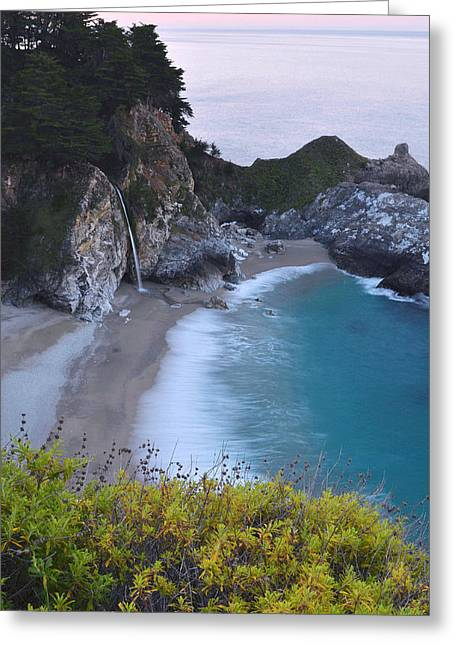 Mcway Falls Greeting Cards - McWay Falls Greeting Card by Stephen  Vecchiotti