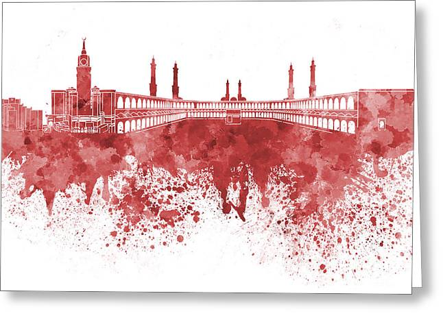 Mecca Greeting Cards - Mecca skyline in watercolor on white background Greeting Card by Pablo Romero