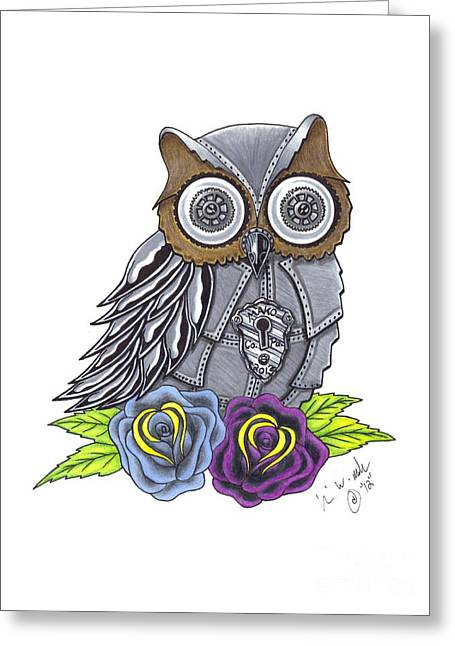 Cog Drawings Greeting Cards - Mechanical Owl Greeting Card by Brian Mako
