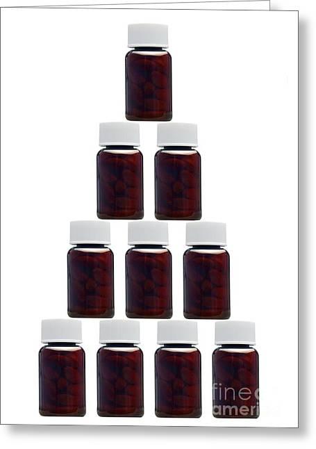 Pill Bottle Greeting Cards - Medicine Bottles, Artwork Greeting Card by Victor de Schwanberg