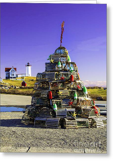 Cape Neddick Greeting Cards - Lobster Trap Tree at Neddick Light  Greeting Card by Melanie McKennon