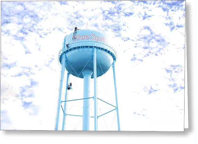 Watertower Greeting Cards - 3 Men Painting The Blue Springs Water Tower Greeting Card by Andee Design