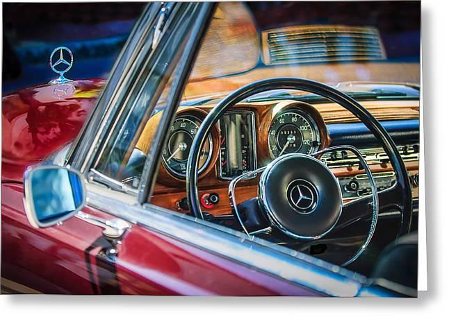 Wheels Greeting Cards - Mercedes-Benz 250 SE Steering Wheel Emblem Greeting Card by Jill Reger