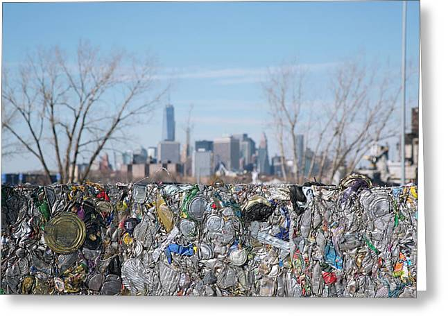 Metal Cans At A Recycling Centre Greeting Card by Peter Menzel