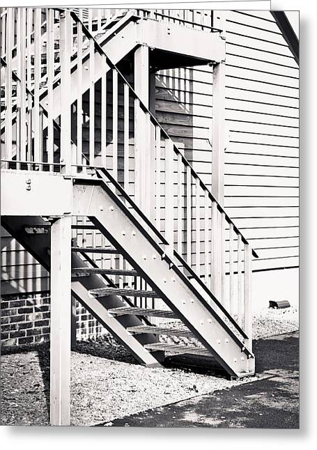 Stepping Stones Greeting Cards - Metal stairs Greeting Card by Tom Gowanlock
