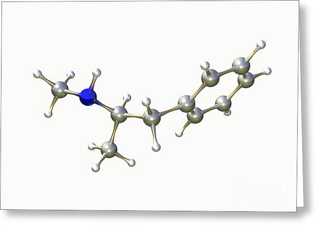 Addictive Drug Greeting Cards - Methamphetamine Drug Molecule Greeting Card by Dr. Mark J. Winter