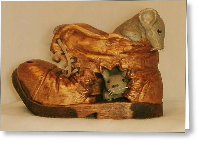 Caricature Carving Sculptures Greeting Cards - 3 Mice in Shoe Greeting Card by Russell Ellingsworth