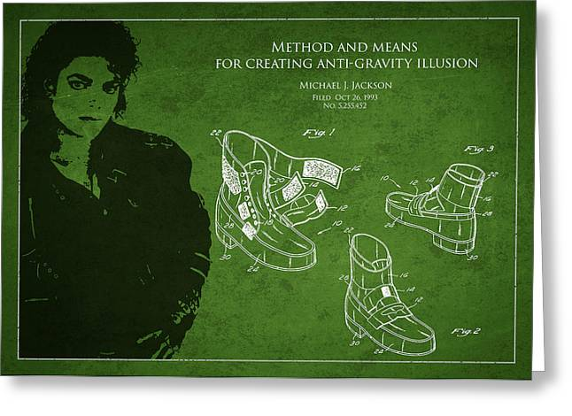 Michael Jackson Drawing Greeting Cards - Michael Jackson Patent Greeting Card by Aged Pixel
