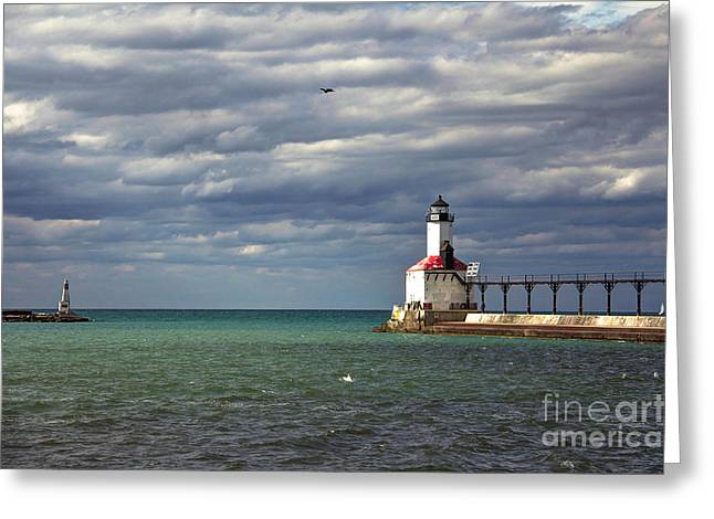 Indiana Autumn Greeting Cards - Michigan City Indiana Lighthouse Greeting Card by Lynne Dohner