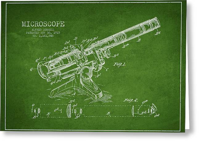 Microscope Greeting Cards - Microscope Patent Drawing from 1915 Greeting Card by Aged Pixel