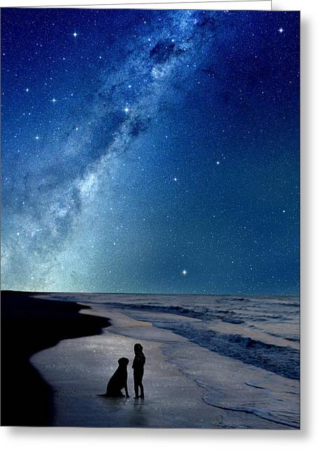 Dog Beach Card Greeting Cards - Milky Way Dreams Greeting Card by Kathleen Horner