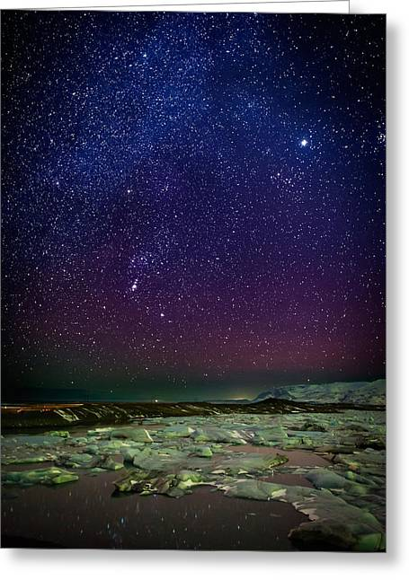 Color Green Greeting Cards - Milky Way Galaxy With Aurora Borealis Greeting Card by Panoramic Images