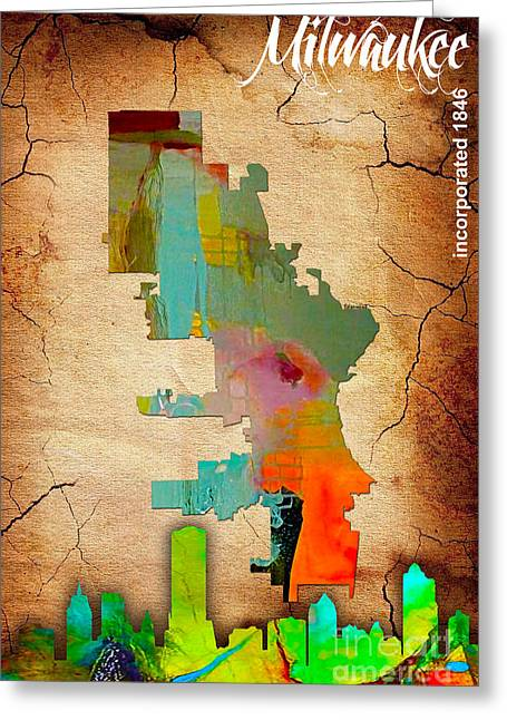 Milwaukee Greeting Cards - Milwaukee Map and Skyline Watercolor Greeting Card by Marvin Blaine