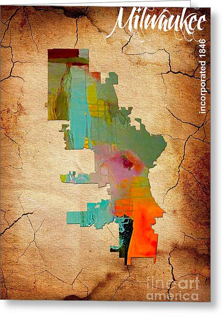 Milwaukee Greeting Cards - Milwaukee Map Watercolor Greeting Card by Marvin Blaine