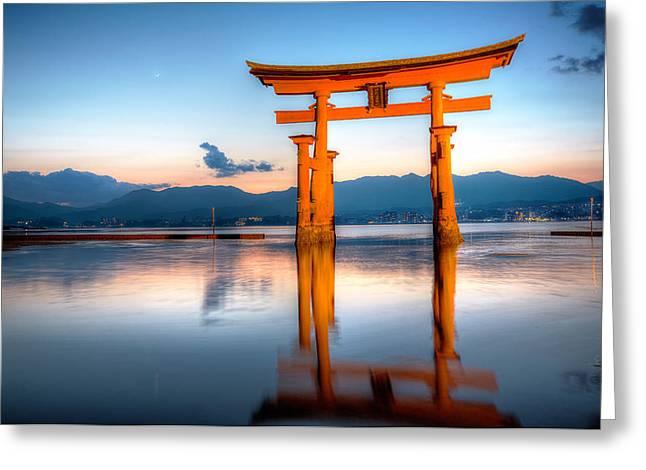 Floating Torii Greeting Cards - Miyajima - Japan Greeting Card by Marco Brivio